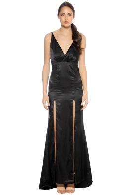 SKIVA - Cross Strap Satin Evening Dress - Black - Front