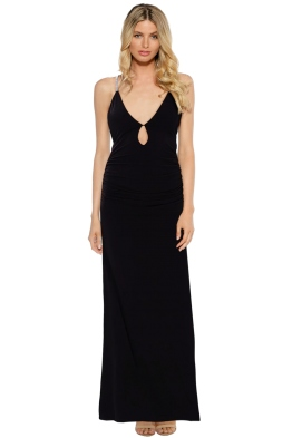 SKIVA - Cross Strap Satin Evening Dress - Front