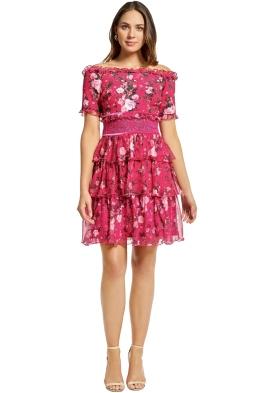 Tadashi Shoji - Bonet Off The Shoulder Dress - Magenta Pink - Front