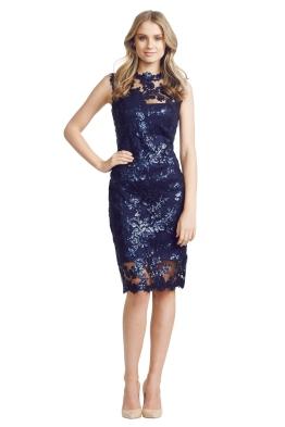 Tadashi Shoji - Paillette Lace Dress - Front - Blue