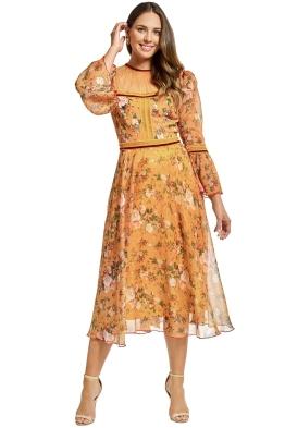 Tadashi Shoji - Toussaint Tea Length Dress - Mustard Yellow - Front
