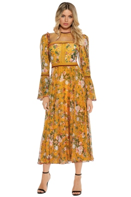 Tadashi Shoji - Toussaint Tea Length Dress - Front - Golden Yellow