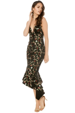 Talulah - Objective Midi Dress - Black Floral - Front