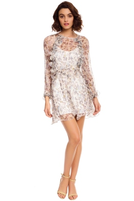 Talulah - Provacateur LS Mini Dress - Ivory Floral Silk - Front