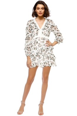 Talulah - Reminisce LS Mini Dress - Print Ivory - Front