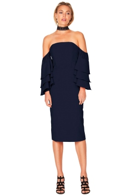Talulah - Sunday Ruffle Dress - Navy - Front