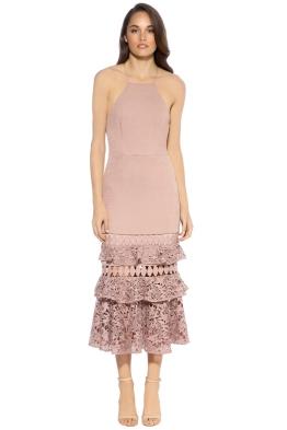 Talulah - Valencia Rose Halter Ruffle Midi Dress - Front