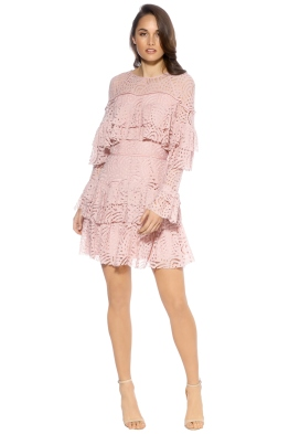 Talulah - Valencia Rose LS Mini Dress - Front - Pink
