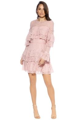 Talulah - Valencia Ruffle Long Sleeve Mini Dress - Pink - Front