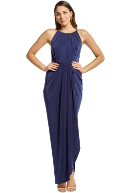 Tania Olsen - Sandra Ruched Gown - Navy - Front