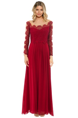 The Dress Shoppe - Gone With The Edge Gown - Red - Front