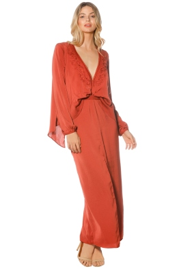 The Jetset Diaries - Siren LS Midi Dress - Saffron - Front