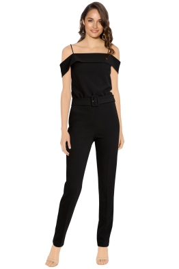 Theory - Off The Shoulder Jumpsuit - Black - Front