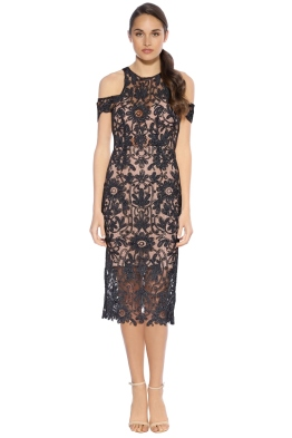 Thurley - Eden Midi Dress - Black Nude - Front