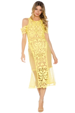 Thurley - Enchanted Garden Midi Dress - Yellow - Front