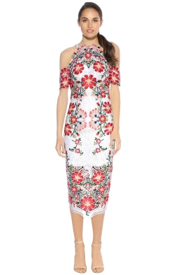 Thurley - Flower Bomb Lace Midi Dress - White Floral - Front