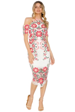 Thurley - Flower Bomb Midi Dress - White Floral - Front
