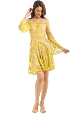 Thurley - Marigold Mini Dress - Yellow - Front