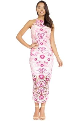 Thurley - Pastel Peony Midi Dress - Pink - Front