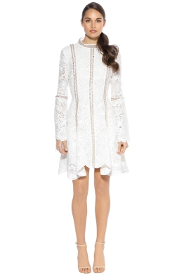 Thurley - Pearly Trim Dress - Ivory - Back