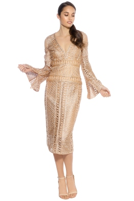 Thurley - Sonnet Dress - Gold - Front