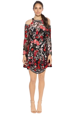 Thurley - Valencia Midi Dress - Black Rose - Front