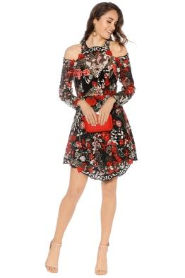 Thurley - Valencia Midi Dress - Black Rose - Front