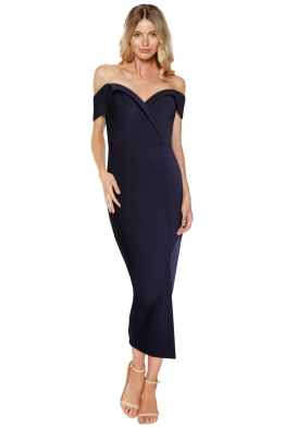 Tinaholy - Navy Sweet Heart Midi Dress - Front
