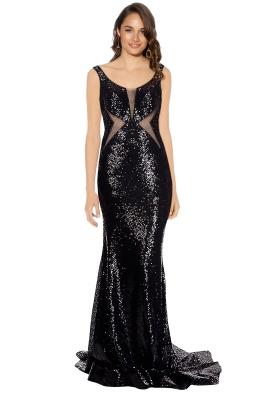 Tinaholy - Midnight Sequin Gown - Black - Front