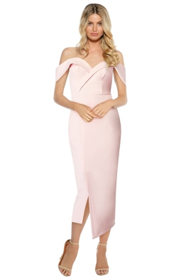 Tinaholy - Blush Sweetheart Midi Dress - Pink - Front