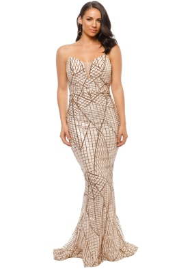 Tinaholy - Gold Sequin Gown - Front