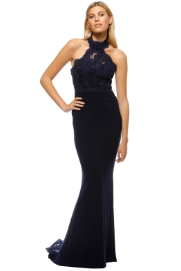 Tinaholy - Lana High Neck Gown - Navy - Front
