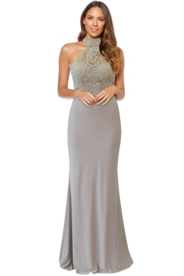 Tinaholy - Lana High Neck Gown - Sand - Front