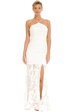 Tinaholy - White Halter Gown - Front