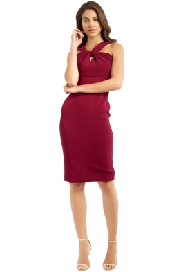 Unspoken - knot Knee Length Dress - Burgundy - Front