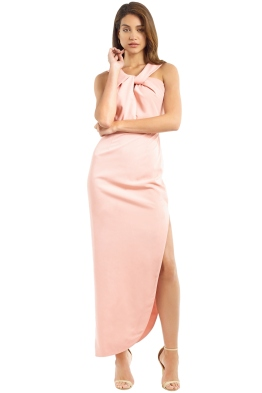 Unspoken - Knot Long Dress - Salmon - Front