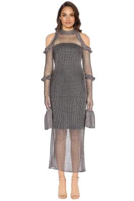 We Are Kindred - Annastasia Cold Shoulder Dress - Pewter - Front