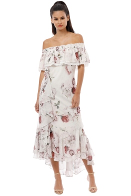 We Are Kindred - Jemima Off Shoulder Bias Dress - White Rose - Front