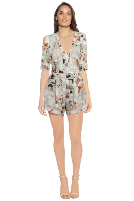 We Are Kindred - Magnolia Romper - Green Floral - Front