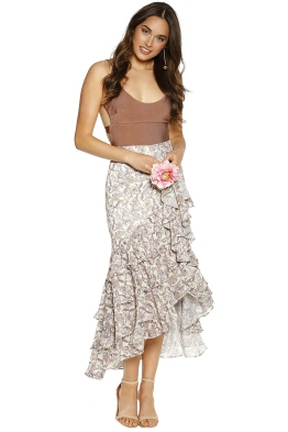 We Are Kindred - Ophelia Asymmetric Skirt - Ivory Floral - Front