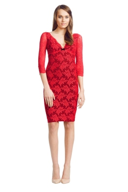 Wheels and Dollbaby - Red Scallop Lace FiFi Dress - Front - Red