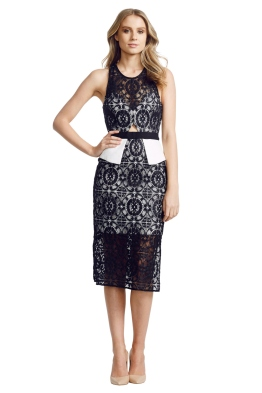 White Suede - Black Overlay Dress - Front - Black