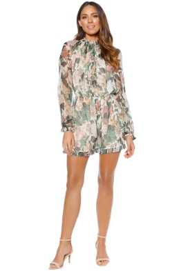 Zimmemann - Arcadia Ruffle Romper - Ivory Floral - Front
