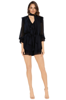 Zimmermann - Folly Ruffle Playsuit - Navy - Front