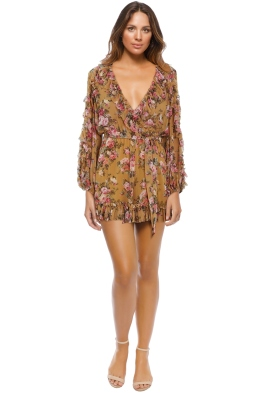 Zimmermann - Golden Ruffle Playsuit - Front