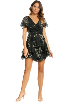 Zimmermann - Maples Wrap Playsuit - Black Bird Floral - Front