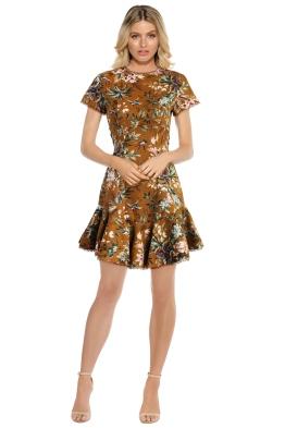 Zimmermann - Tropicale Lattice Dress - Mustard - Front